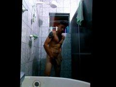 Hung latino showering