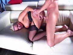 Hot sex in black stockings