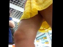 upskirt sexy teen in yellow dress