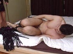 Big tits blonde mistress torturing horny babe eating hunk