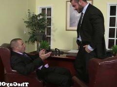 Uniformed gay office hunk pounding ass