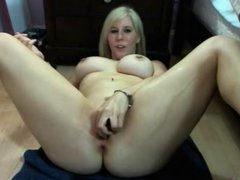 Busty Blonde Webcamgirl Squirts Multiple Times