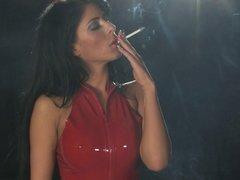 Mistress Ella Mai 120s smoking POV domination in latex