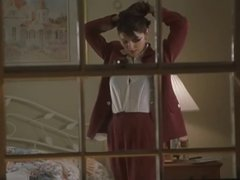 Laura Harring being voyeured by a guy  in Little Nicky movie