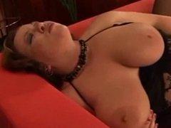 Hot BBW masturbation in black stockings