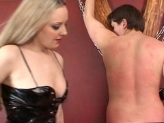 Blonde Russian mistress trample with strapon