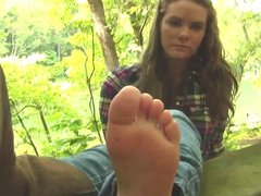 Diane barefoot tickle after cowboy boot removal