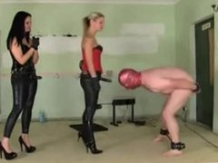 dominant babes torture a sissy slave