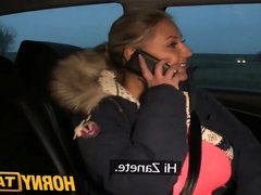 HornyTaxi Blonde with Huge tits pays her debt