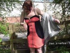 Public masturbation and flashing of british redhead Isabel D