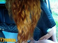 HornyTaxi Long red hair and a nice shaved pussy