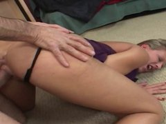 Young slut gets older stud's long stick in her ass
