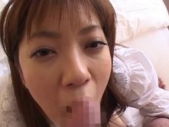 japanese doll facial 24 - she gets the cum on mouth