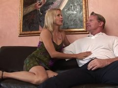 Slender blonde opens her moith wide for hard dude's cock