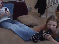Lesbian foot worship while texting