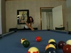She milks his cock on the pooltable BB