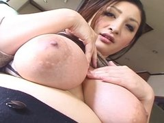 Jap Babe pulling out n licking big boobs