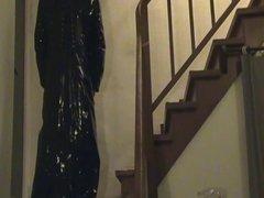Franzi im langen Lackmantel, PVC Bluse und Latexrock