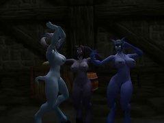 3 nude Draenei dancing