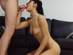 Tiny darkhaired girl fucked in pussy and ass