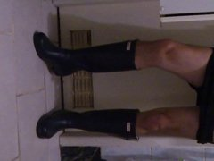 Hunter boots, Nike socks