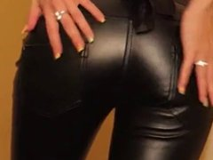 Cum on leather pants