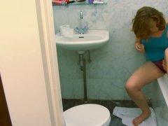 Bathroom masturbation session.