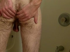 Shaving uncut cock and balls in the shower