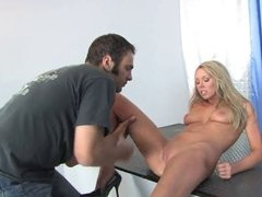Tanned blonde opens her legs for a long dick