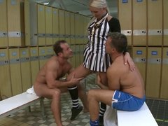 Sexy referee Cameron has two dicks filling her fuckholes
