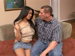 Ripped guy gives hot brunete a hard doggy fuck