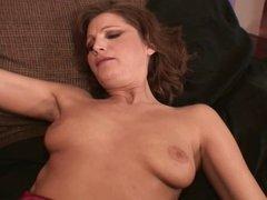 Huge black cock penetrates brunette's tight holes