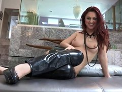 Asian beauty licks hot redhead's foot and wet cunt