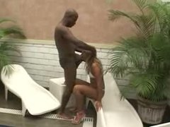 Mature BBC and a young blonde by the pool