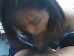 Sweet Japanese teen moans while being pounded hard in public