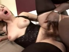 Hot hairy MILF fucked by a BBC