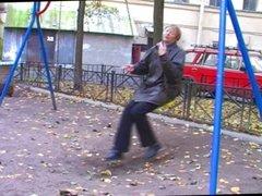 Granny on a swing