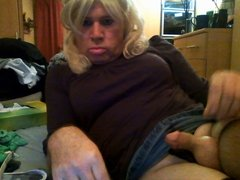 Sexy Cock on Sexy Tranny in Denim skirt and fishnets