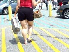White BBW In Atlanta Spandex Shorts Up Her ASS....