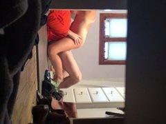 Wife grinding my cock on the bathroom floor