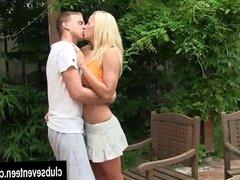 Blonde teen Christen take cock in the garden