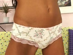 Teen beauty in girly lingerie plays solo in her room