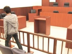 Hot young bitch gets pounded in a court room