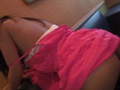 Beautiful young girl sucks a hard cock in a restaurant