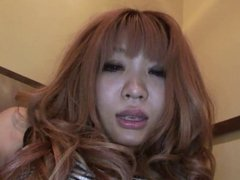 Japanese whore gets her hairy muff licked by her guy