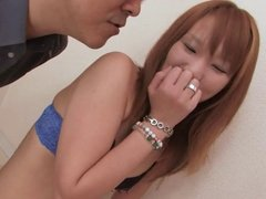 Ginger Asian girl gets a cum necklace after blowjob