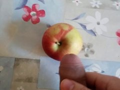 cum on food - apple