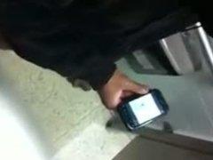 Black guy caught jerking off in the men's room