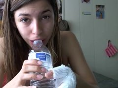 girl deepthroats water bottle and cries for daddy