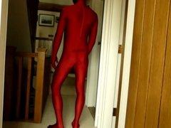 Red lycra spandex morphsuit